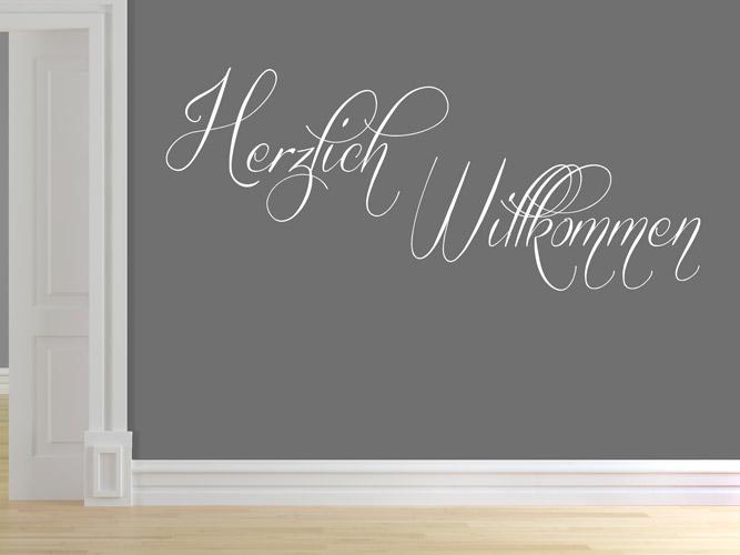 wandtattoo schrift feines herzlich willkommen. Black Bedroom Furniture Sets. Home Design Ideas