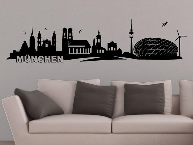 wandtattoo skyline von m nchen bei. Black Bedroom Furniture Sets. Home Design Ideas