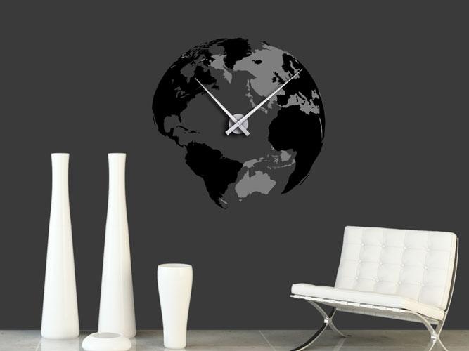 Wandtattoo Uhr 3D Globus bei Homesticker