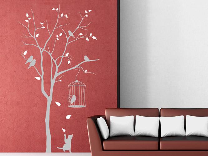 wandtattoo baum mit katze und k fig bei. Black Bedroom Furniture Sets. Home Design Ideas
