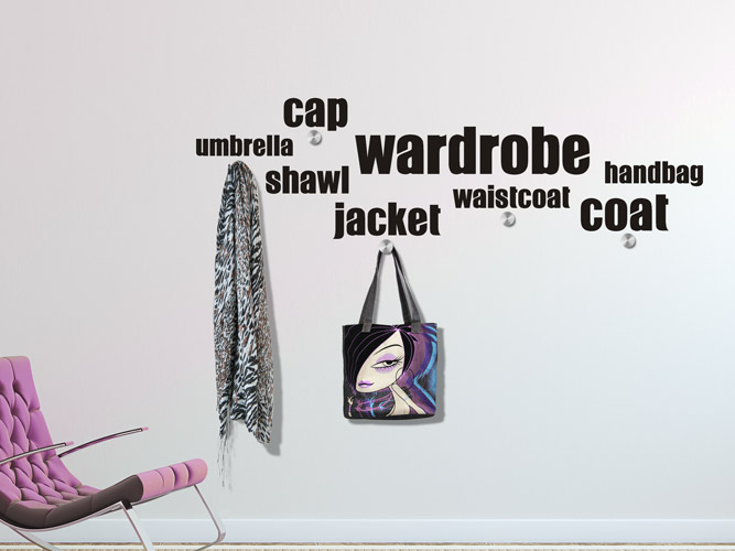Wandtattoo garderobe wordcloud coat jacket shawl bei - Wandtattoo garderobe ...