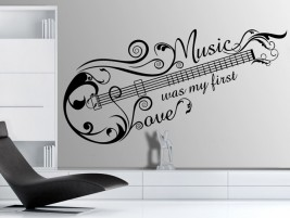 Wandtattoo Music Love mit Gitarren-Ornament