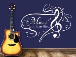 Wandtattoo Ornament Music is my life