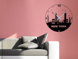 Wandtattoo Uhr Skyline New York