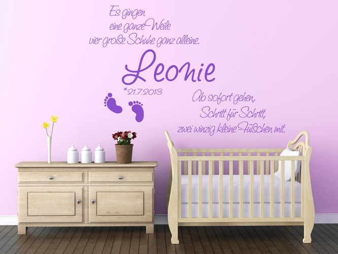 baby wandtattoos kleine f chen mit namen. Black Bedroom Furniture Sets. Home Design Ideas