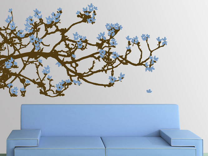 wandtattoo ast mit bl ten reuniecollegenoetsele. Black Bedroom Furniture Sets. Home Design Ideas