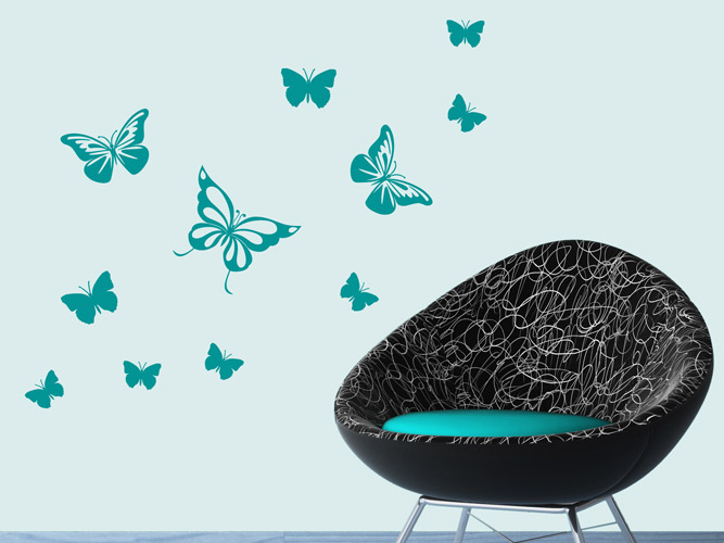 wandtattoo ausschw rmende schmetterlinge bei. Black Bedroom Furniture Sets. Home Design Ideas