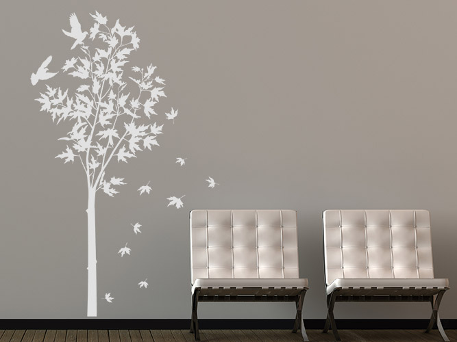 wandtattoo baum ahorn mit laub bei. Black Bedroom Furniture Sets. Home Design Ideas