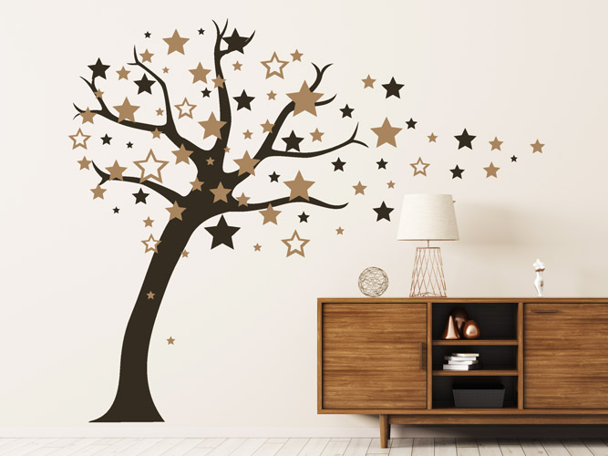 wandtattoo baum aus sternen bei. Black Bedroom Furniture Sets. Home Design Ideas