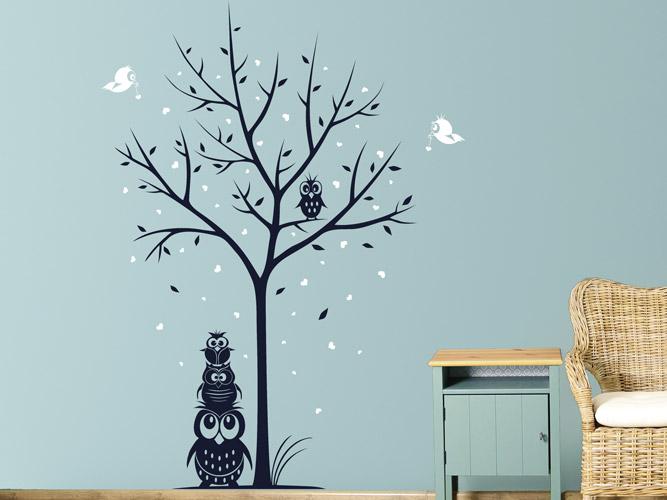 Wandtattoo Baum Mit Eulenfamilie Fur Kinder Bei Homesticker De