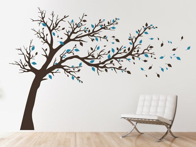 Wandtattoo Baum Mit Fliegenden Blattern Xxl Bei Homesticker De