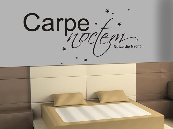 wandtattoo carpe noctem mit sternen bei. Black Bedroom Furniture Sets. Home Design Ideas