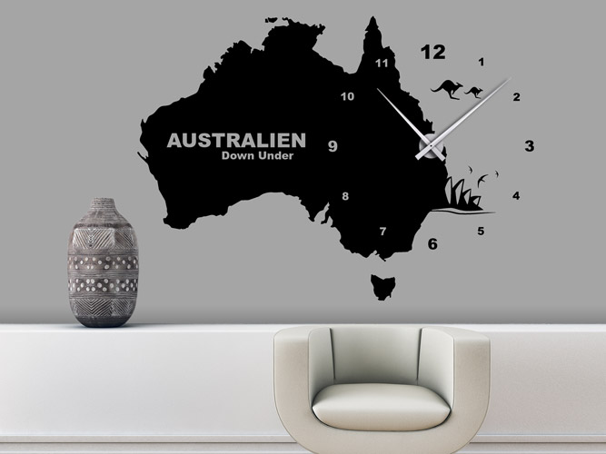 wandtattoo down under uhr australien bei. Black Bedroom Furniture Sets. Home Design Ideas
