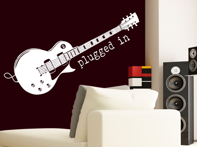 Wandtattoo E-Guitar plugged in