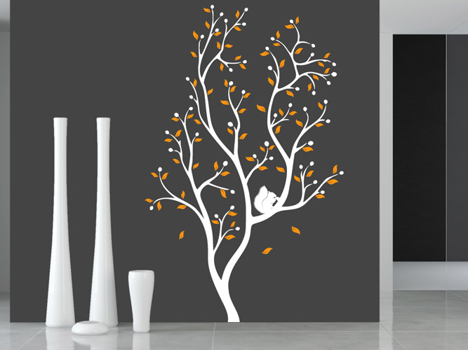 wandtattoo eichh rnchen in 2 farbigem baum bei. Black Bedroom Furniture Sets. Home Design Ideas