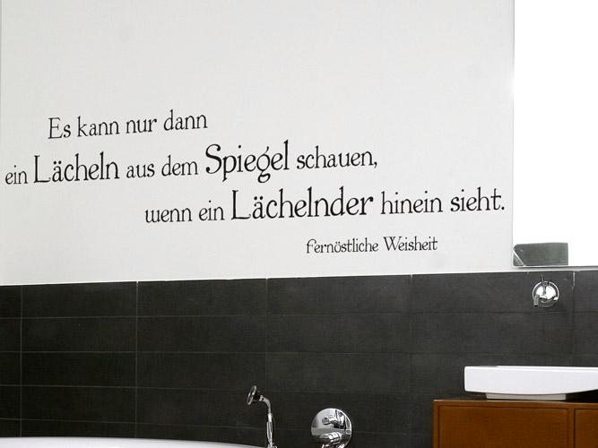 Wandtattoo im Bad - Lächeln aus dem Spiegel - Homesticker.de
