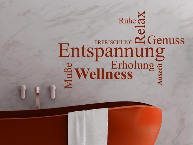 wandtattoo worte entspannung erholung wellness. Black Bedroom Furniture Sets. Home Design Ideas
