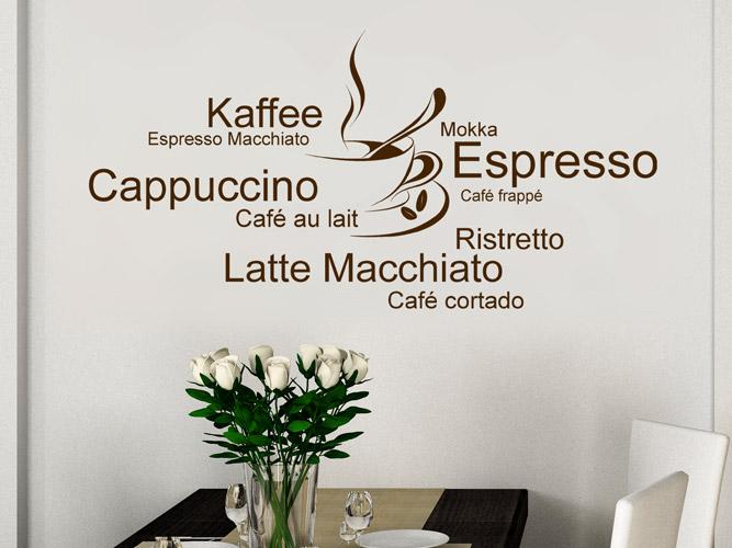 Wandtattoo Kaffee, Espresso, Café frappé mit Tasse bei Homesticker.de