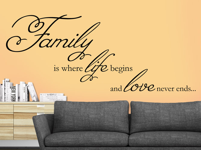 Wandtattoo Family - life and love