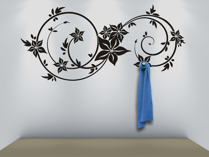 Wandtattoo Garderobe Blütenornament