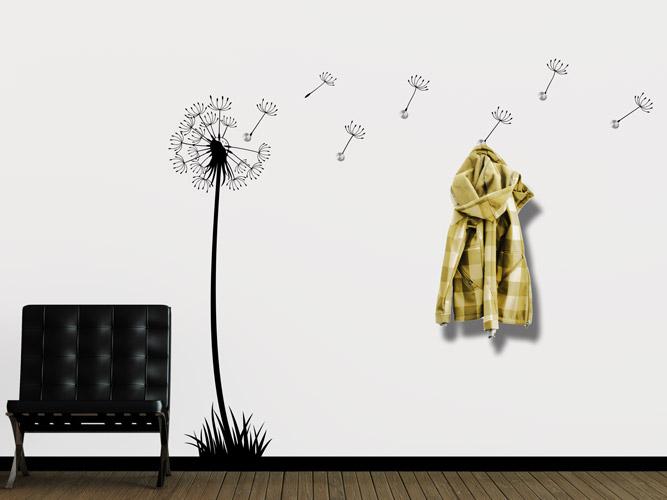 wandtattoo garderobe pusteblume im wind bei. Black Bedroom Furniture Sets. Home Design Ideas