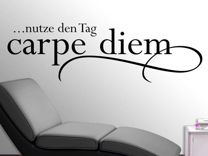 wandtattoo geschwungenes carpe diem bei. Black Bedroom Furniture Sets. Home Design Ideas