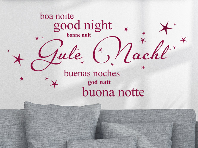 Wandtattoo gute nacht in 7 sprachen - Gute besserung italienisch ...