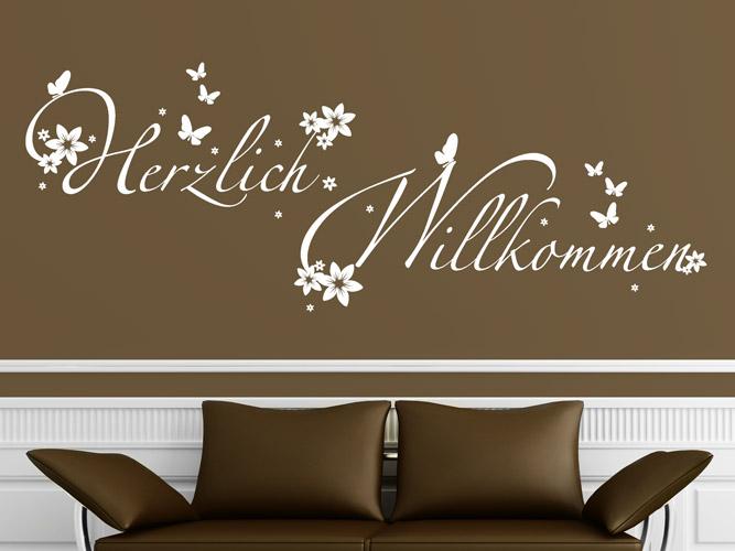 wandtattoo herzlichen willkommen mit bl ten. Black Bedroom Furniture Sets. Home Design Ideas