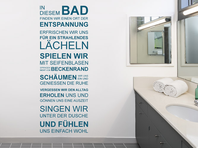 Wandtattoo In diesem Bad finden wir Entspannung bei Homesticker.de