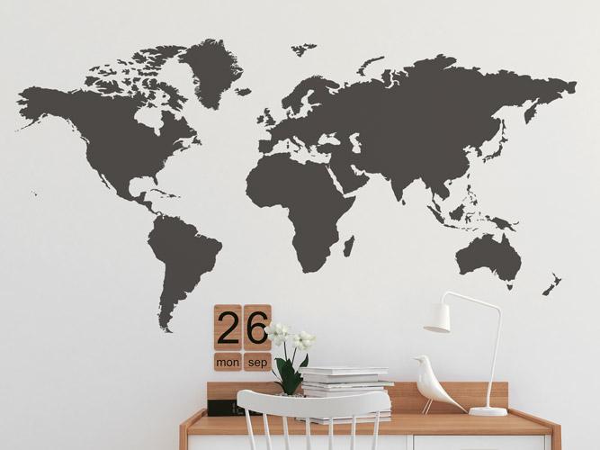 Erde Karte Rund.Wandtattoo Karte Der Erde Bei Homesticker De