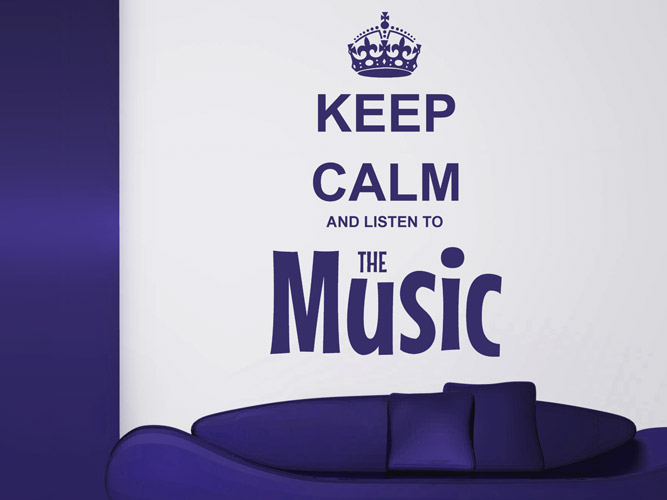 Wandtattoo Keep calm and listen to the music