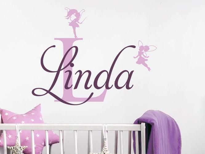 wandtattoo kindername mit buchstabe und elfen bei. Black Bedroom Furniture Sets. Home Design Ideas