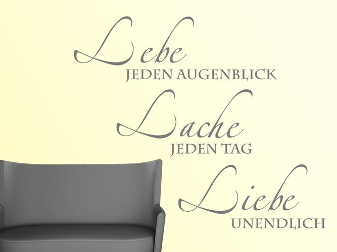 wandtattoo lebe lache liebe unendlich bei. Black Bedroom Furniture Sets. Home Design Ideas