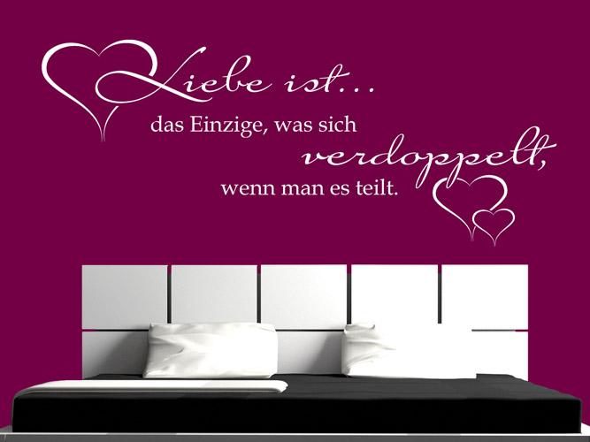 Wandtattoo liebe ist das einzige bei - Wandschablonen schlafzimmer ...