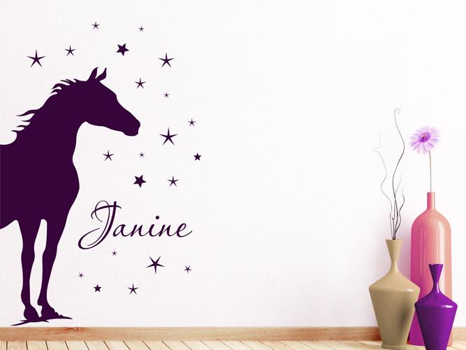 Wandtattoo Pferd Mit Sternen Und Name Bei Homesticker De