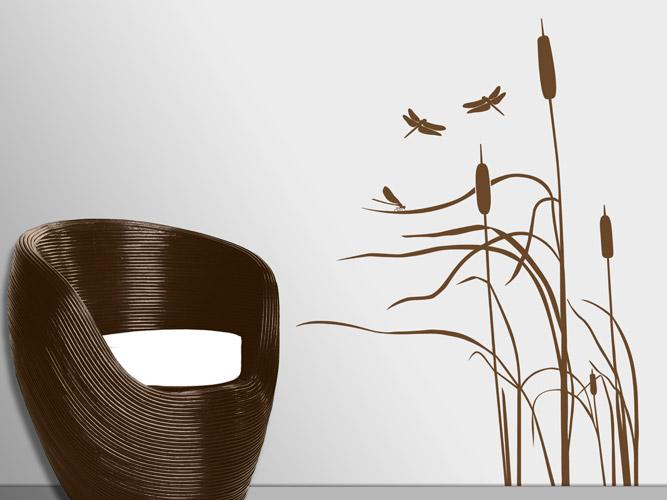 wandtattoo schilf mit libellen im wind bei. Black Bedroom Furniture Sets. Home Design Ideas