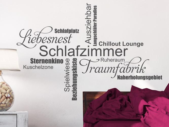 Wandtattoo Schlafzimmer, Liebesnest, Traumfabrik Kuschelzone ...