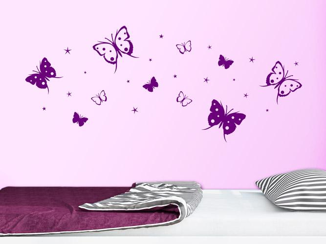 Wandtattoo Schmetterlinge und Sterne bei Homesticker.de
