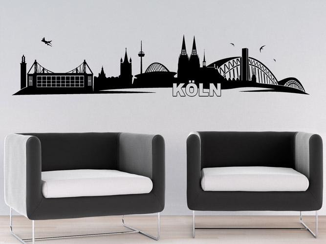 wandtattoo skyline von k ln bei. Black Bedroom Furniture Sets. Home Design Ideas