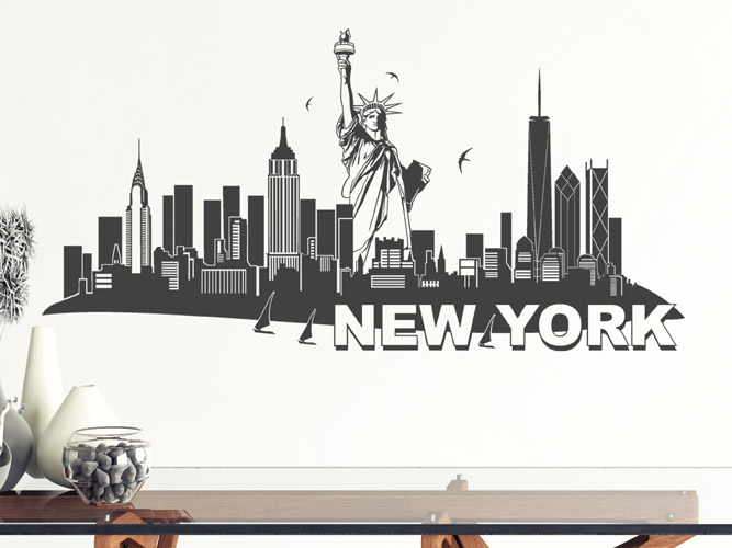 wandtattoo skyline new york mit freiheitsstatue bei. Black Bedroom Furniture Sets. Home Design Ideas