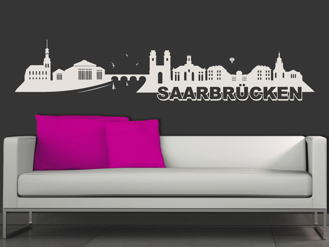 wandtattoo skyline saarbr cken bei. Black Bedroom Furniture Sets. Home Design Ideas