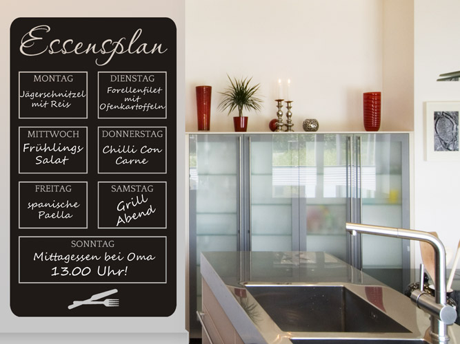 Tafelfolie Küche wandtattoo tafelfolie essensplan der woche bei homesticker de