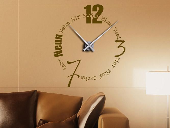 Wandtattoo Uhr mit Buchstaben und Wörtern bei Homesticker.de