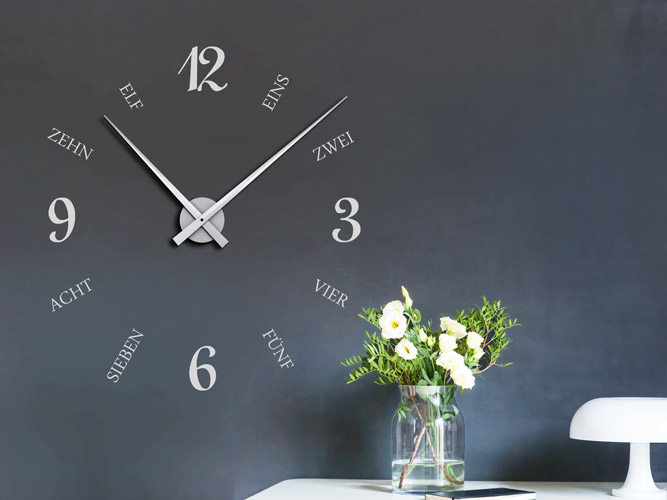 Wandtattoo Uhr Mit Geschriebenen Zahlen Bei Homesticker De