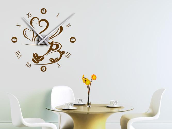 Wandtattoo Uhr mit Kaffetasse bei Homesticker.de