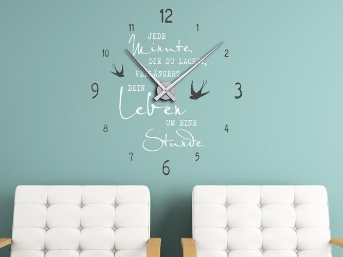 Wandtattoo Uhr mit Spruch Das Leben verlängern... bei Homesticker.de