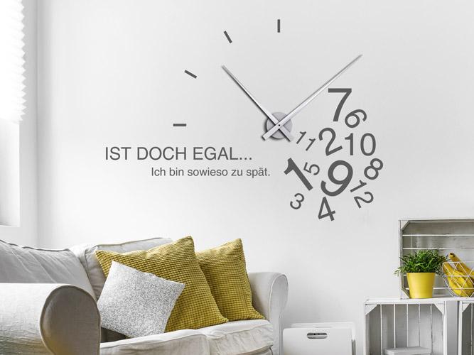 Wandtattoo Uhr mit Spruch Sowieso zu spät bei Homesticker.de