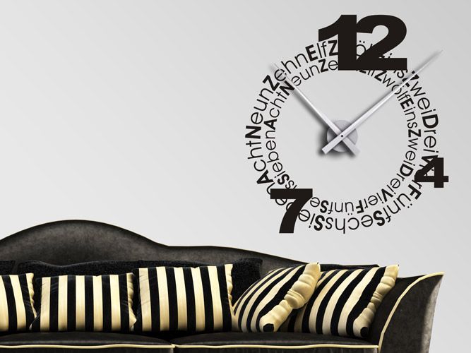 uhr schrift und zahlen als wandtattoo bei. Black Bedroom Furniture Sets. Home Design Ideas
