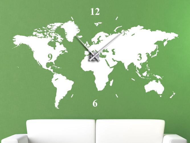 Wandtattoo Uhr Weltkarte Mit Uhrwerk Und Zeiger Bei