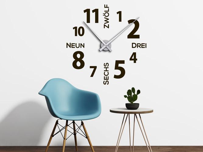 Wandtattoo Uhr Zahlen Und Worte Bei Homesticker.de